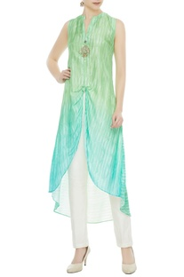 Green viscose zardozi butta work high-low kurta