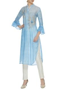 Sky blue viscose dori work high-low shirt kurta