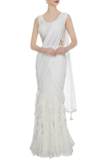 Ivory georgette & tulle ruffled pre-stitched lehenga saree with embellished blouse