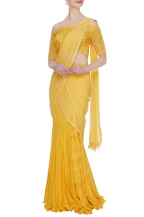 Mustard yellow georgette & lace ruffled pre-stitched lehenga saree with off-shoulder lace blouse