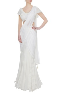 Ivory georgette ruffled pre-stitched lehenga saree with blouse