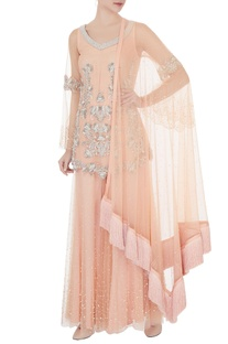 Peach net pearl embroidered kurta & sharara pant & fringe dupatta