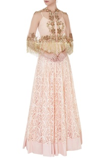 Peach net, crepe & shantoon tassel cape blouse & embroidered skirt