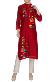 Red chanderi silk floral patchwork embroidered & sequins tunic