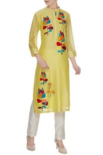 Mellow yellow chanderi silk floral patchwork kurta
