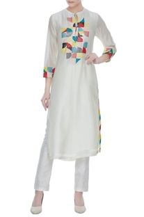 Ivory silk chanderi multi-colored hand embroidered tunic