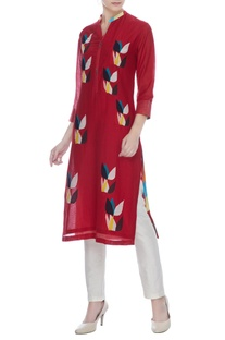 Red cotton silk multi-colored floral patch worktunic