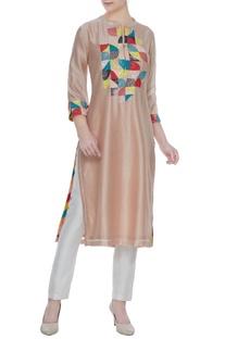 Rose pink silk chanderi hand embroidered & sequin work tunic
