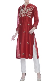Red silk chanderi silver & golden zari worktunic