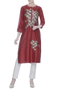 Red silk chanderi hand embroidered work tunic