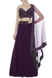 Wine silk crepe hand embroidered blouse with palazzo pants & dupatta