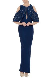 Teal blue silk crepe hand embroidered bodycon gown