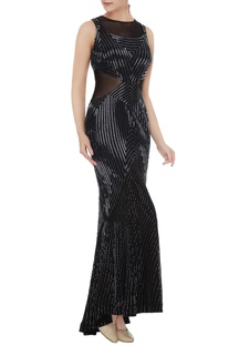 Black silk georgette hand bead embroidered mermaid gown