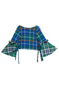 Forest green cotton chequered crop top with bell sleeves