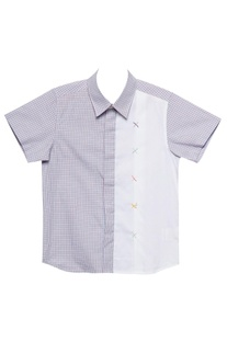 Lavender & white cotton cross stitched semi-formal shirt