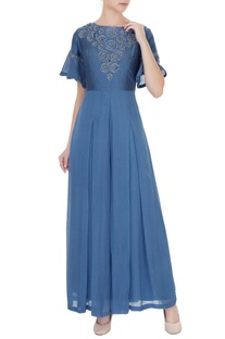 Stone blue silk chanderi & georgette floral applique jumpsuit