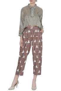 Brown organic poplin box pleated baggy ankle pants
