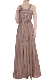 Brown organic poplin strap dress with check print & front slit
