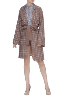 Brown organic poplin chequered jacket with belt & button
