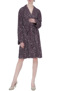 Wine organic poplin striped & sparrow print short trench coat