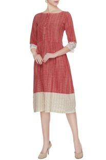Red hand-woven cotton midi dress
