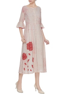 Pink marble printed dress with rose applique work