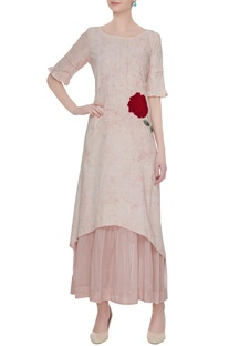 Pink rose applique tunic with slip