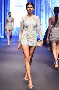 Grey & white net sequin long sleeve mini dress