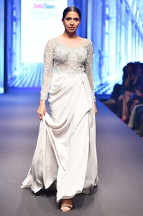 Grey & silver net hand-embellished long sleeve gown