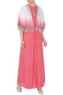 Coral & off white silk chanderi & crepe zardozi jumpsuit with cape
