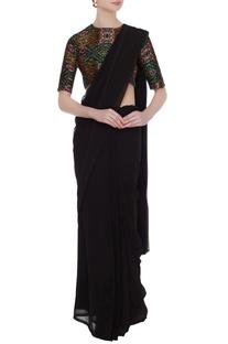 Multicolored handloom cotton printed saree blouse