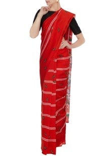 Red handloom cotton floral printed saree