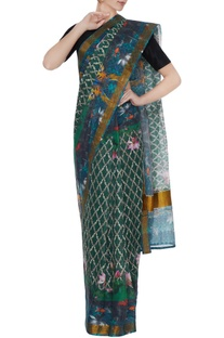 Multicolored handloom cotton floral printed saree
