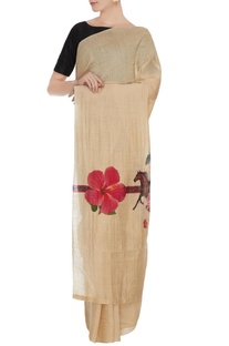 Beige tussar silk saree with horse printed pallu