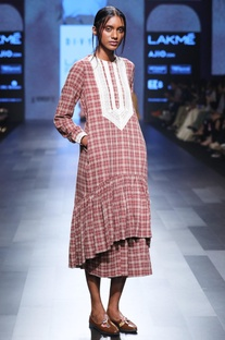 Maroon hand spun & hand woven khadi chequered midi dress
