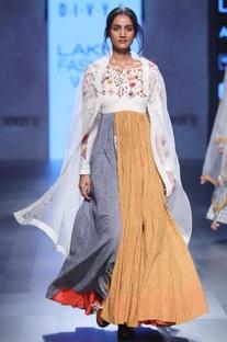 Multi-colored hand spun & hand woven khadi hand embroidered kurta
