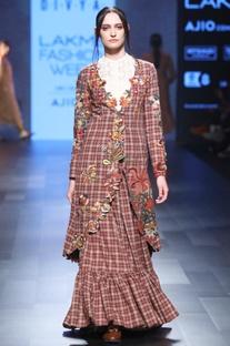 Maroon hand spun & hand woven khadi chequered jacket & lehenga