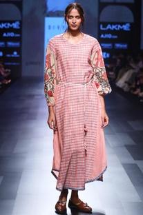 Pink hand spun & hand woven khadi hand painted dress with belt