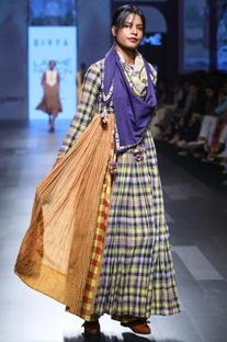 Navy blue hand spun & hand woven khadi hand embroidered dress with dupatta