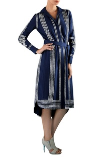 Blue viscose hand embroidered & applique dress