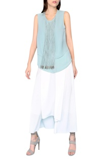 Tiffany blue viscose metallic fringed blouse