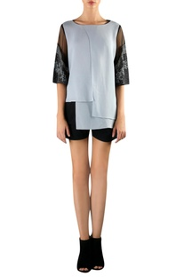 Black & grey viscose high-low embellishe blouse