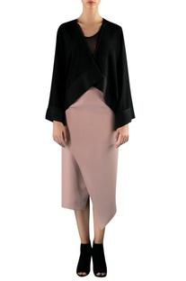 Black cotton viscose asymmetric cape