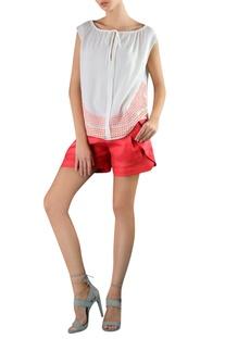Orange & white cotton viscose applique embroidered blouse