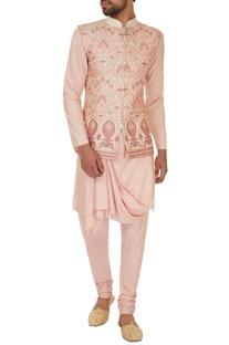 Cream & peach silk thread work & applique embroidered bundi