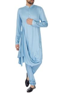 Ice blue cotton silk draped kurta & churidar