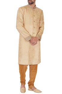 Golden beige cotton silk thread work embroiered sherwani with kurta & pyjamas