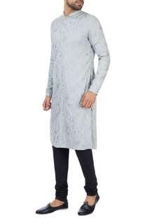 Ice blue kashmiri embroidered kurta