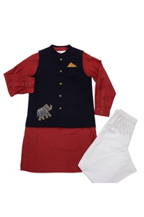 Navy blue & red cotton elephant motif bandi with cotton silk kurta & poplin pyajama