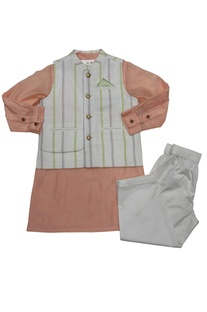 Peach & white linen bandi with cotton silk kurta & poplin pyajama
